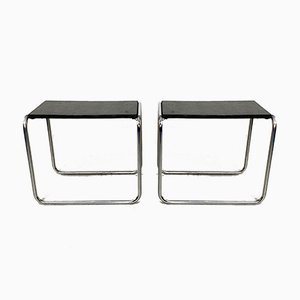 Bauhaus Style Leatherette and Tubular Chrome Side Tables, 1970s, Set of 2
