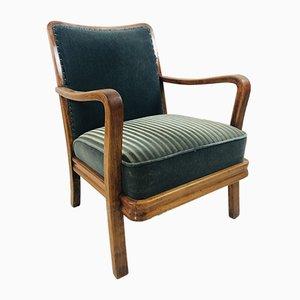 Sedia da fumo Art Deco in legno di velluto verde e velluto, anni '20