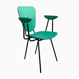 Mid-Century Green Vinyl and Steel Dining Chair, 1950s