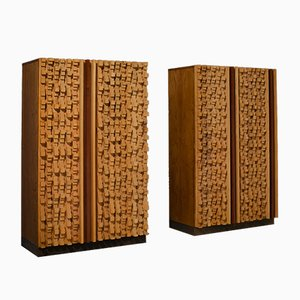 Sculptural Cabinets by Stefano d'Amico in Beech and Brass by Stefano d'Amico, 1974, Set of 2