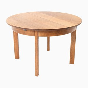 Oak Art Deco Hague School Extendable Dining Room Table by Hendrik Wouda for Pander