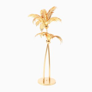 Gilt Metal Hollywood Regency Palm Tree Floor Lamp, Maison Baguès Style