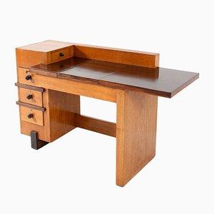 Bureau ou Table d'Écriture Art Déco École de la Haye en Chêne par Henk Wouda pour Pander, 1924