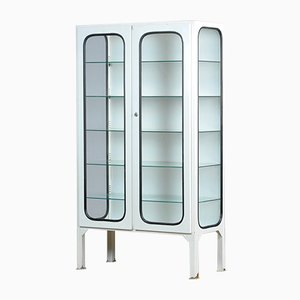 Vintage Glass & Iron Medical Vitrine Cabinet, 1970s