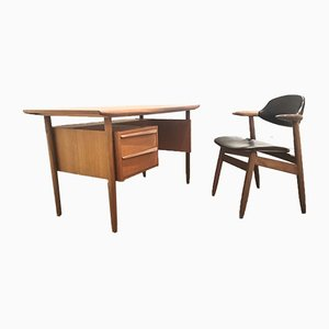 Teak Cowhorn Desk and Cowhorn Chair by Tijsseling for Propos Hulmefa, 1960s
