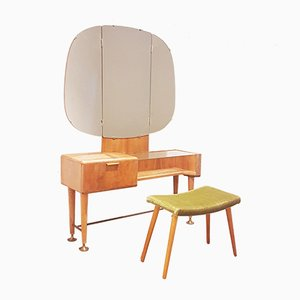 Mid-Century Modern Walnut Dressing Table & Stool by A. A. Patijn for Zijlstra Joure, 1950s, Set of 2
