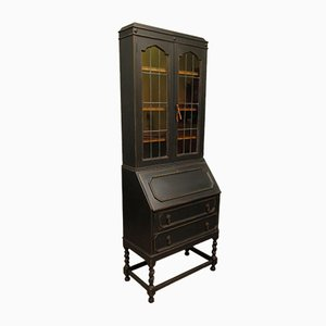 Antique Black Writing Secretaire Bookcase
