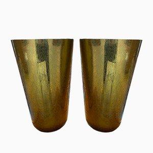 Goldene Vintage Vasen von Sergio Costantini, 1980er, 2er Set