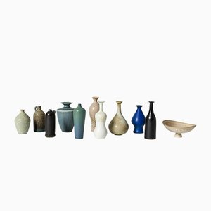 Stoneware Vases & Bowl by Gunnar Nylund for Rörstrand, 1950s, Set of 10