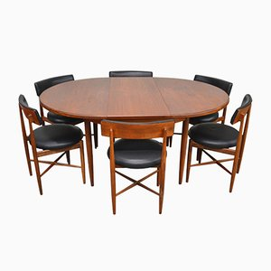 Vintage Teak Extendable Dining Table & Chairs Set from G-Plan, Set of 7