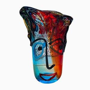 Mehrfarbige Vintage Murano Vase aus Kristallglas von Sergio Costantini, 1980er