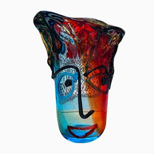 Vintage Multi-Colored Crystal Murano Vase by Sergio Costantini, 1980s