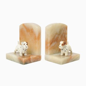 British Alabaster Terrier Dog Bookends, 1930s, Set of 2