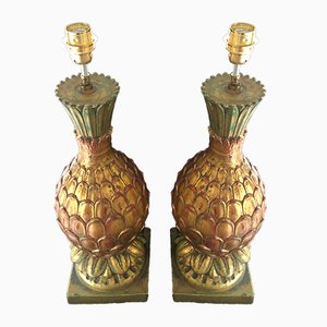 Pineapple Ceramic Gilt Gold Table Lamps, 1980s, Set of 2