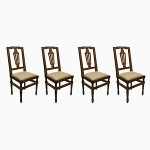 Antique Dining Chairs in Walnut, Set of 4
