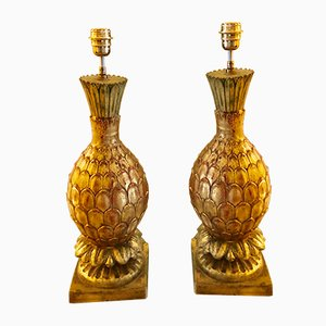 Pineapple Ceramic Gilt Gold Table Lamps with Italian Shades, 1980s, Set of 2