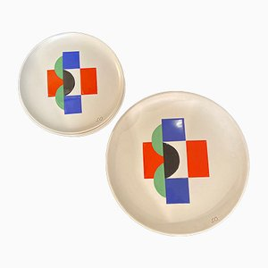 Vintage Sonia Assiettes & Large Plate by Sonia Delaunay, 1985, Set of 7