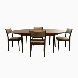 Mid-Century Extendable Dining Table & Chairs Set from G-Plan, 1970s, Set of 5