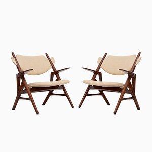 Palisander Sawbuck Sessel von Hans J. Wegner, 1950er, 2er Set