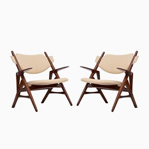 Rosewood Sawbuck Lounge Chairs by Hans J. Wegner, 1950s, Set of 2