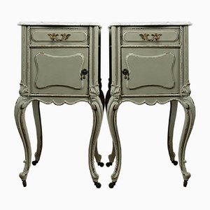 Antique French Mahogany and White Carrara Nightstands with Marble Tops on Castors, Set of 2