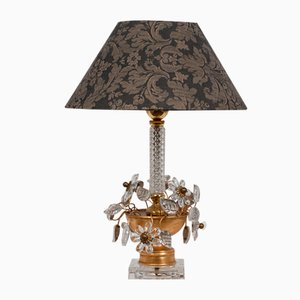 Mid-Century Italian Table Lamp with Clear Crystal Flowers from Banci Firenze