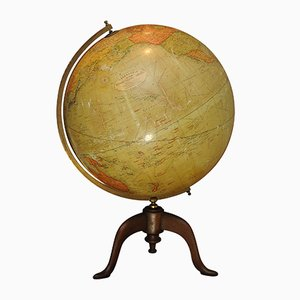Antique Terrestrial World Globe with 3 Legged Base from Geographia, 1923