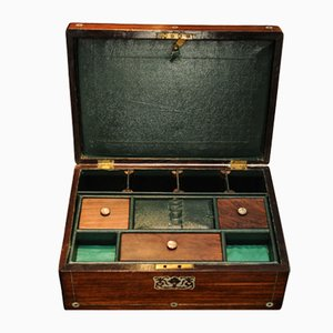 Rosewood Sewing Box with Green Vinyl Interior & Brass Fixings
