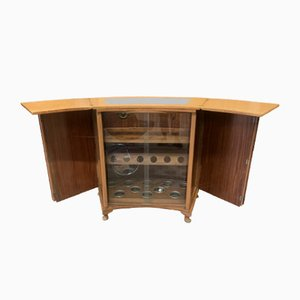 Art Deco Walnut Glazed Metamorphic Drinks Bar with Fitted Interior