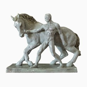 Ceramic the Horse Tamer Figurine by Else Bach for Karlsruher Majolika, 1930s