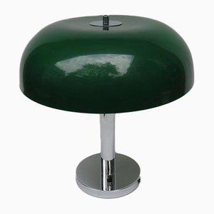 Mushroom Chrome Table Lamp with Dark Green Plastic Shade, 1960s