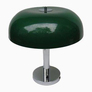 Mushroom Tischlampe aus Chrom mit dunkelgrünem Schirm aus Kunststoff, 1960er