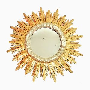 Mid-Century Wooden and Gold Leaf Sun Mirror, 1960s