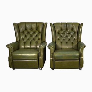 Chesterfield Style Leatherette Club Armchairs with Lying Function, 1980s, Set of 2