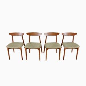 Teak Dining Chairs by Harry Østergaard for Randers Møbelfabrik Denmark, 1950s, Set of 4