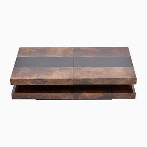 Italian Brown Two-Tiered Sliding Coffee Table with Hidden Bar by Aldo Tura