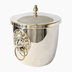 Silver-Plated Lion Head Ice Bucket or Champagne Cooler, 1960s