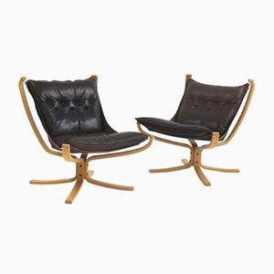 Black Leather & Blonde Wood Falcon Chair by Sigurd Ressell for Vatne Møbler, 1960s