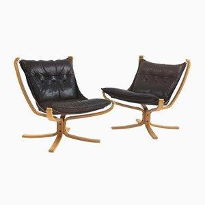 Schwarzer Leder & Hellblauer Falcon Chair von Sigurd Ressell für Vatne Møbler, 1960er