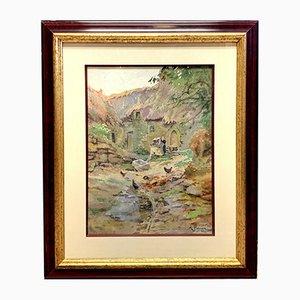 Antikes Reethaus, Hof und Hühner Aquarell von Leopold Albert Pierson