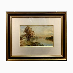 Antique Riverwide Watercolor by Pierre De Joncheres