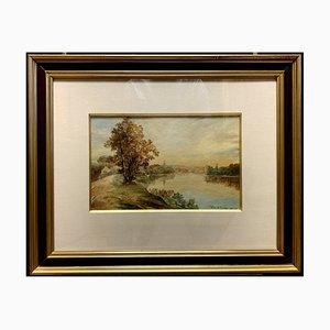 Antique Riverwide Watercolor by Pierre De Joncheres