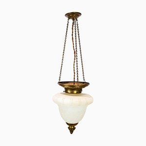 Antique Pendant in White Opaline Glass with Brass Edge & Suspension, 1860s