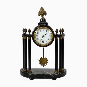 Antique French Fireplace Clock with Gilding, 1840s
