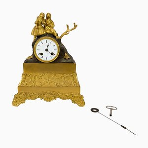 French Fireplace Clock in Gilded Bronze, 1820s