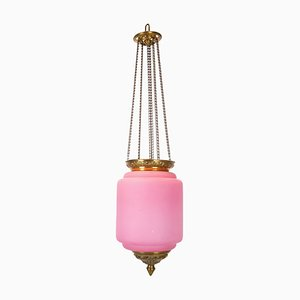 Antique Pendant in Pink Opaline Glass with Brass Edge and Suspension, 1860s