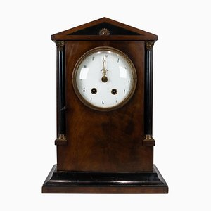 French Fireplace Table Clock in Mahogany, 1840s