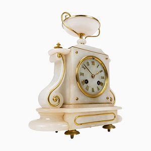 Antique French Fireplace Clock in Marble, 1820s