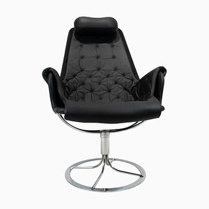 Black Leather Model Jetson 69 Easy Chair by Bruno Mathsson for Dux, 1970s