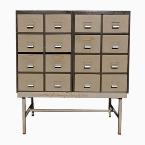 Vintage Industrial Metal Raised 12-Drawer Unit from H.S.L.D, 1940s